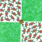 Light Green Red Possibilities Cotton Fabric Novelty Craft Quilt Squares  zf1