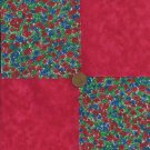 Red Roses Tiny  Fabric 4 inch Fabric  Blocks Squares MS1