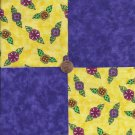 Whimsy Flowers with Purple   4 inch 100% Cotton Novelty Fabric Quilt Squares TB1