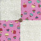 Cupcake with Whipped Frosting  4 inch 100% Novelty Fabric Quilt Squares ffs1
