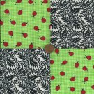 Ladybug on a Leaf 4 inch  Cotton Fabric Quilt Craft Squares gd3
