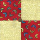 Yellow with Red Butterflies  4 inch Fabric Craft Quilt Squares Block ZP1