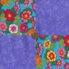 Multi Flowers Purple 4 inch Cotton Fabric Quilt Squares Blocks ms1