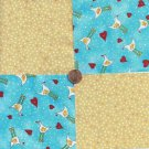 Chicken Hearts and Dots  4 inch 100% Cotton Novelty Fabric Quilt Squares TB1