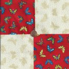 Butterfly Butterflies on Beige 4 inch 100% Cotton Novelty Fabric  Squares FS2