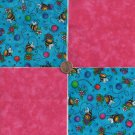 Sweet Bee in Pink  4 inch 100% Cotton Novelty Fabric Quilt Squares TB1