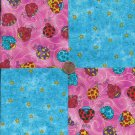 Colorful Ladybugs Yellow Stars 100% Cotton Fabric Quilt Square Blocks FT