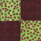 Ladybugs Vivacious Curves 100% Cotton Fabric Quilt Square Blocks GE OOK