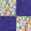 Balloons and Purple  4 inch Cotton Fabric Craft Squares  Blocks PB1