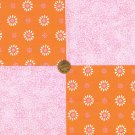 Salmon and Pink Flowers with Specs 100% Cotton Fabric Quilt Square Blocks my8