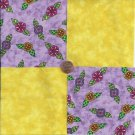 Bright Whimsy Flowers Lilac WOW  4 inch 100% Cotton Novelty Fabric  Squares ffs1
