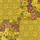 Vintage Antique Look Flowers Gold 100%  Cotton Fabric Squares  Blocks LP1