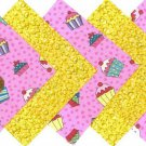 20 4 inch Moist Yellow Cupcakes Fabric Quilt Squares Craft kit osr5