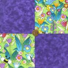 Bees Birds Spring Garden mix with Purple Cotton Fabric Squares  my4