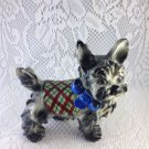 Vintage Style Black Dog Terrier or Similar with Plaid Wrap and Scarf tblms1