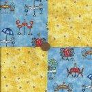 Sunshine in Paris 4 inch Fabric Quilt Squares Craft Block rbx2