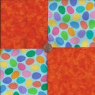 Eggs and Orange  4 inch 100% Cotton Novely Fabric  Squares FS2