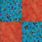 Bumble Bee Bloop Flowers 4 inch Fabric Cotton Craft Quilt Square rbx2