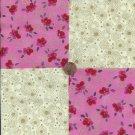 Rose Flowers Gold Burst Circles 100% Cotton Fabric Quilt Square Blocks kit  EU