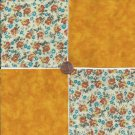 Gold Flower Florals Fabric Quilt  Various Manufacturers Squares 100% Cotton osr3