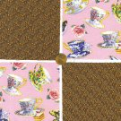 Tea Leaves and Teacups  4 inch 100% Cotton Novelty Fabric Quilt Squares YW1