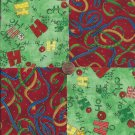 HO HO and Ribbons on Red   4 inch 100% Cotton Novelty Fabric Quilt Squares TC1