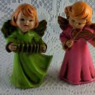 Vintage Angel Ornament Set of 2 Stands as Collectible as well Harp Accordian bs1
