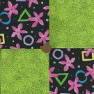 FLOWER PINK SHAPES 4 inch Fabric Quilt Squares Block zs1