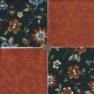 20 4 inch Rust Flowers Fabric Quilt Craft Squares Kit   100% Cotton osr3