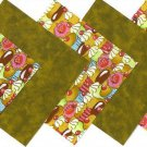 20 4 inch Creamy Chocolate Cupcakes Fabric Quilt Squares OSR5