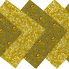 20 4 inch Gorgeous Golden Brown Flowers Fabric Quilt Squares Kit OSR5