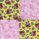 Mary Engelbreit Roses Pink  4 inch 100% Cotton Novely Fabric  Squares FK1