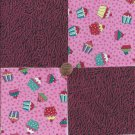 Cupcakes or Ice Cream  4 inch 100% Cotton Novelty Fabric Quilt Squares TC1