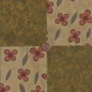 Flowers Florals Brown Rust  100% Cotton Fabric Quilt Square Blocks kit  EU
