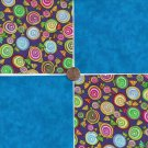 20 4 inch Hard Candy Sweets Blue Fabric Quilt Craft Squares 100% Cotton osr3