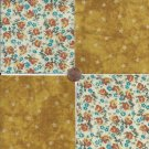 20 4 inch Gold Floral Stars Fabric Quilt Craft Squares 100% Cotton OSR3