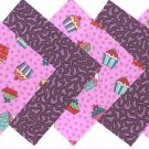 20 4 inch Cupcakes and Purple Rain Sponge Cake Fabric Sqs100% Cotton osr3