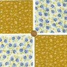 Golden Blue Roses Cotton  Fabric Quilt Novelty Craft  Blocks  RBX2