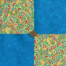 4 inch Ocean Blue Coral Cotton Fabric Quilt Squares zg1