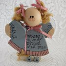 Wooden Doll Grandma's Are Just Antique Little Girls Ponytails Pink Bows tblds1