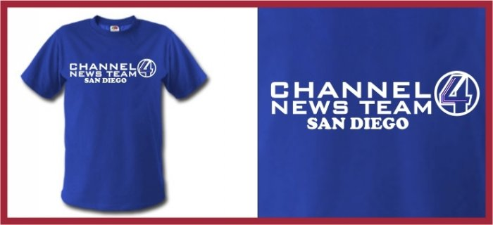 Channel 4 News Anchorman Ferrell T-Shirt blue SMALL
