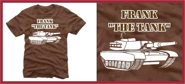 """"" FRANK THE TANK """" ferrell old school T-SHIRT brown MEDIUM"