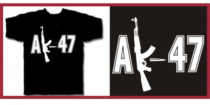 AK-47 machine gun punk T-Shirt LARGE