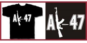 AK-47 machine gun punk T-Shirt LARGE