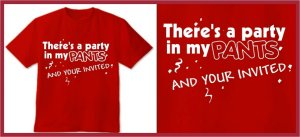 There's a party in my pants Anchorman T-SHIRT red LARGE