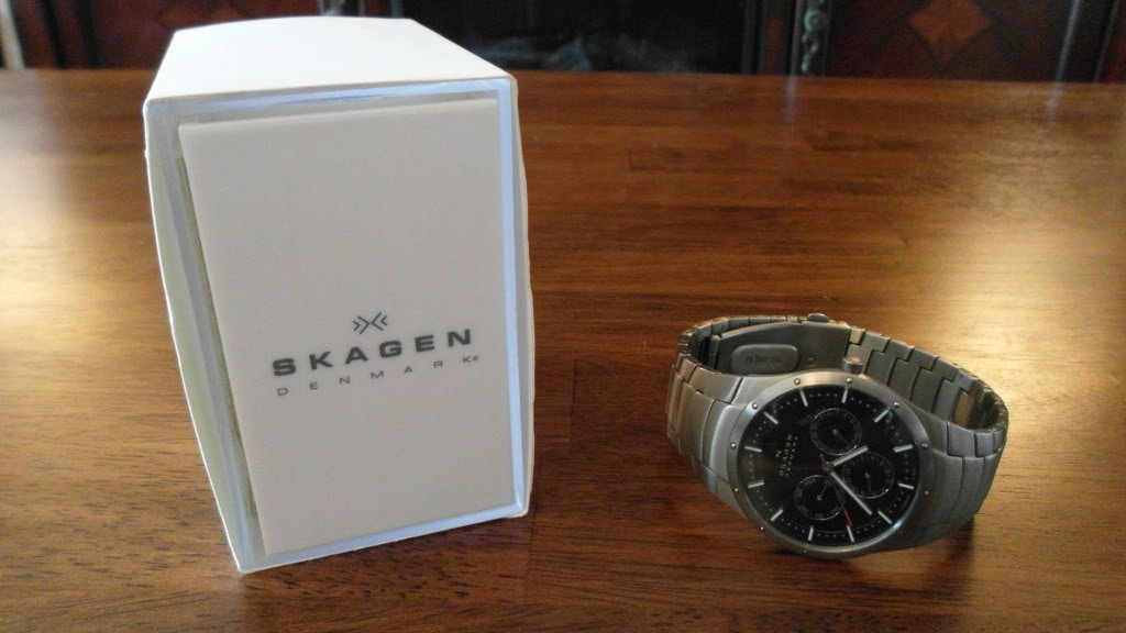 Skagen Denmark Mens Titanium Watch with box nice