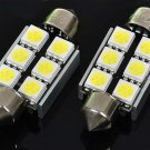 38mm White 6-5050 SMD LED License Plate Dome Light Bulbs - Pair (DC 10~18V)