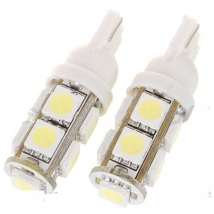 T10 3W 100-Lumen 9x5050 SMD LED Car White Light Bulb (2-Pack/DC 12V)