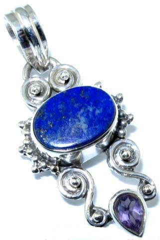 Pendant - Lapis and Amethyst