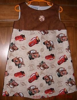 MadieBs CUSTOM TAN DISNEY CARS DRESS SZ 3/3T NEW